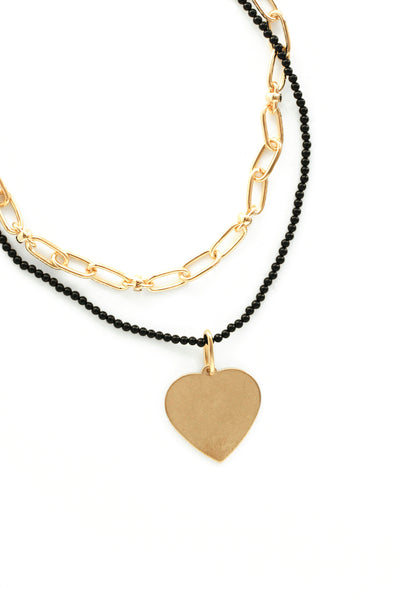 Layered Heart Charm Necklace - Black