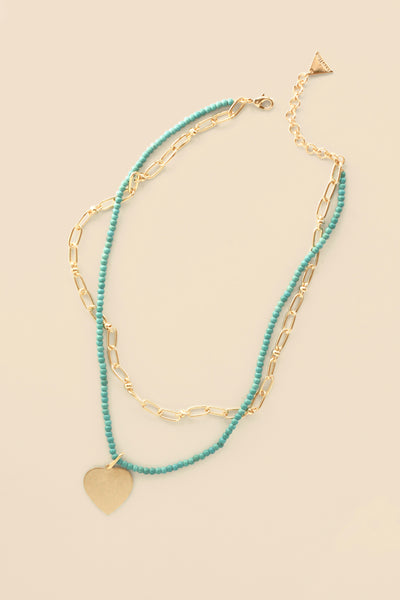 Layered Heart Charm Necklace - Turquoise