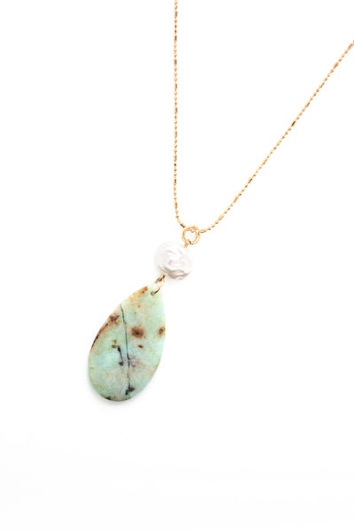 Double Stone Drop Long Necklace - Turquoise