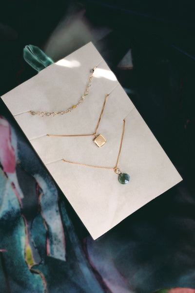 Delicate Necklace Set - Green