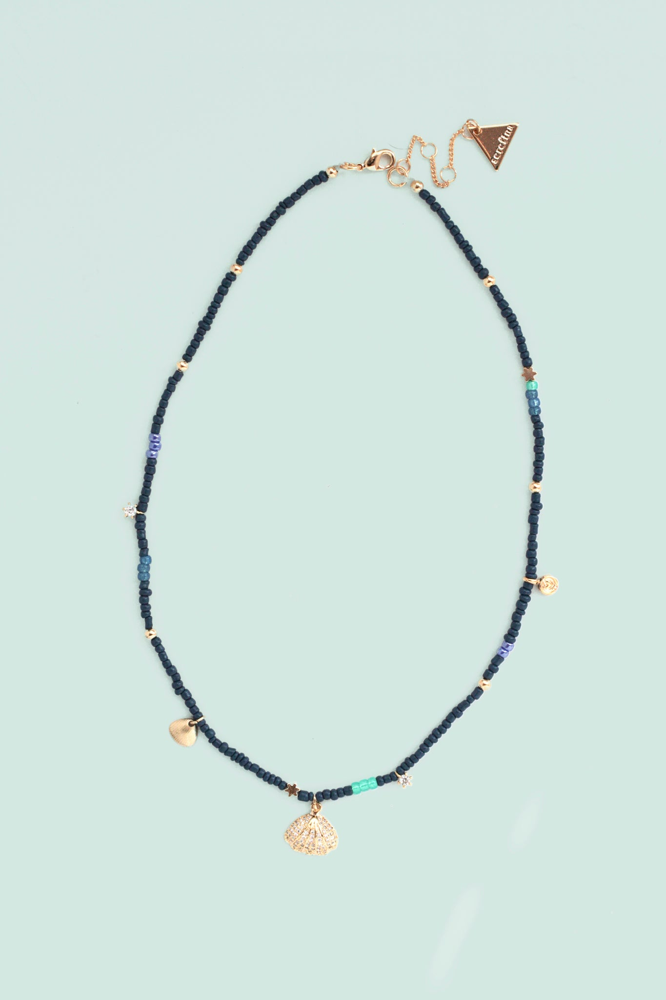 Beaded Charm Necklace - Navy