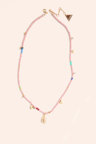 Beaded Charm Necklace - Pink