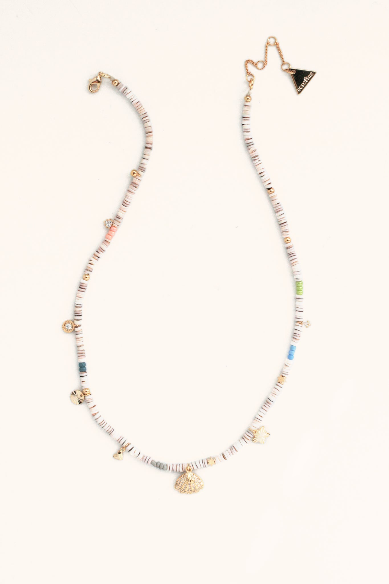 Beaded Charm Necklace - White