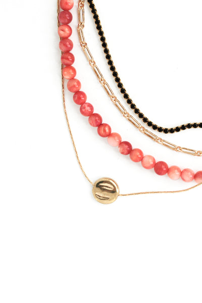 Multi Layered Necklace - Coral