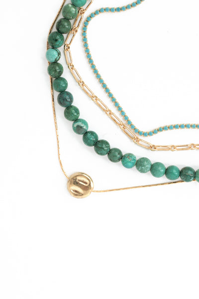 Multi Layered Necklace - Green