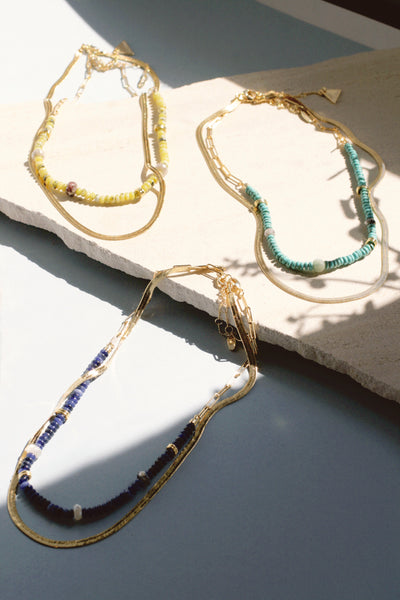 Lapis & Silverite Beaded Necklace Set