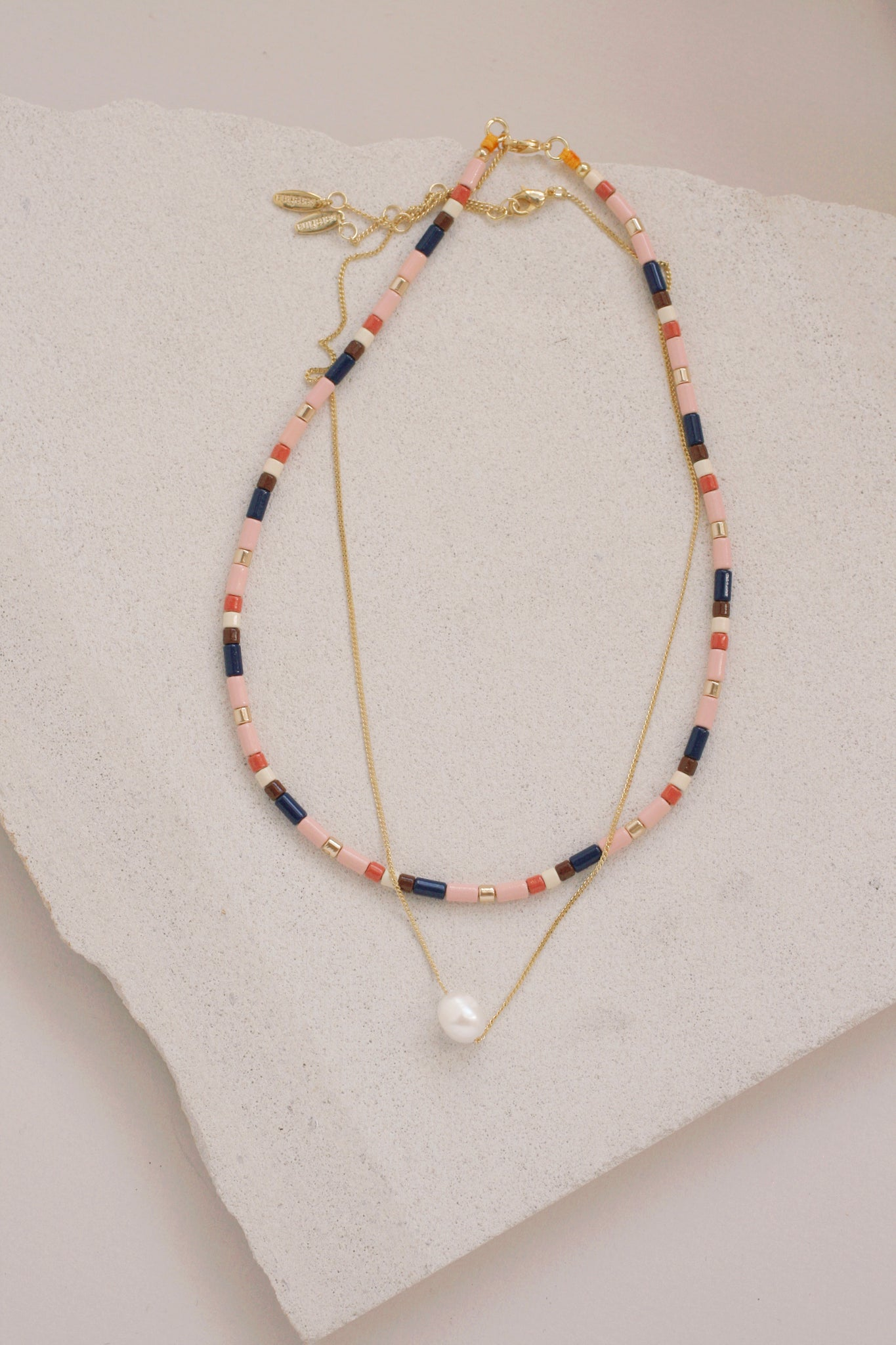 Bead and Pearl Necklace Set