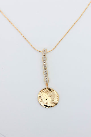 Long CZ Coin Pendant Necklace - Gold