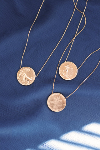 Vintage Inspired Zodiac Sign Coin Necklace - Gold