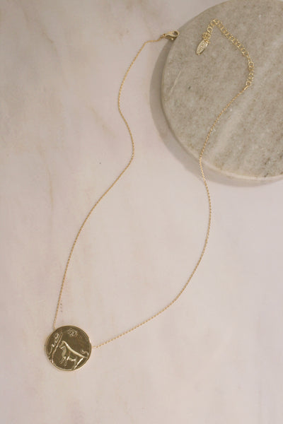 Vintage Inspired Zodiac Sign Coin Necklace