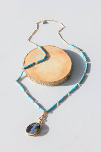 Long Turquoise Beaded Necklace with Gold Locket