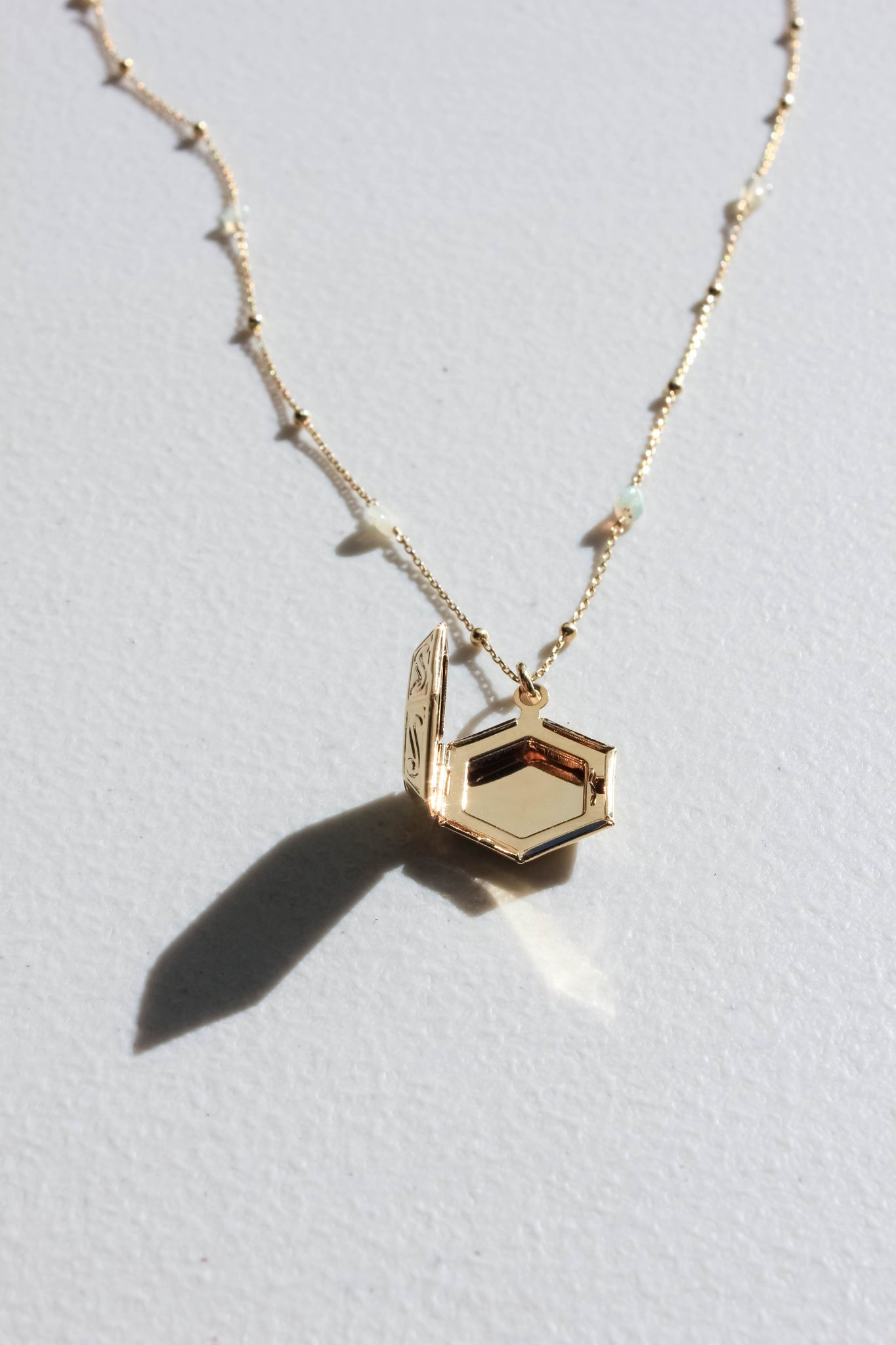 Hexagon Locket on Opal Beaded Chain