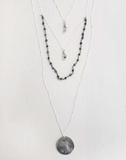 PRELAYERED GEMS AND MOON COIN NECKLACE