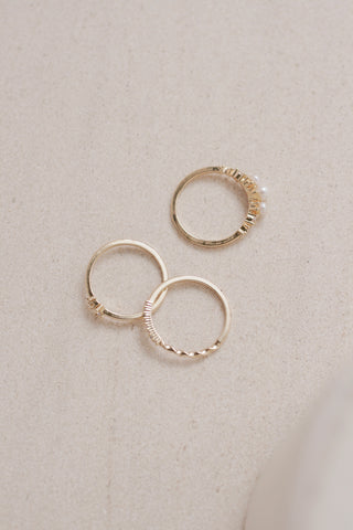 Trio Pearl Stacking Rings