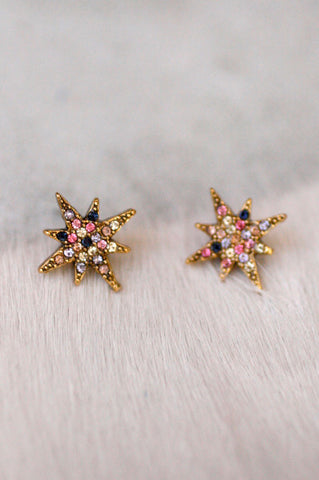 Small Star Pave Stud - MULTI