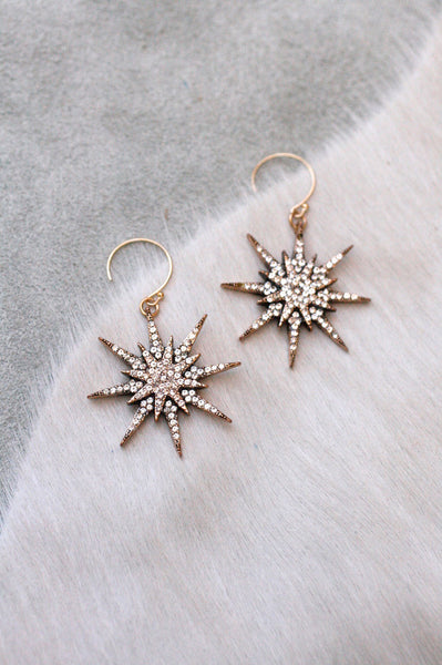 Medium Star Pave Drop Ear - Clear