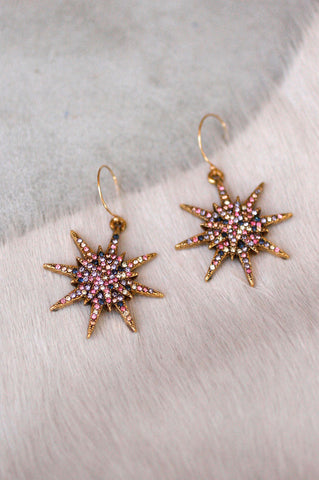 Medium Star Pave Drop Ear - MULTI