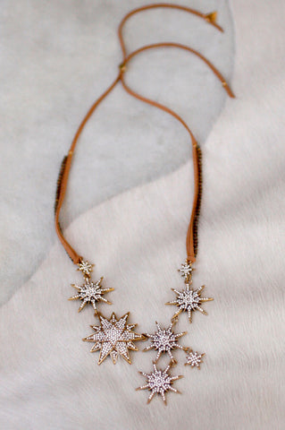 Starburst Pave Statement Necklace - CLEAR