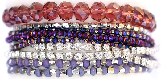 Prelayered Crystal Magnetic& Stretch Statement Bracelet: AMETHYST