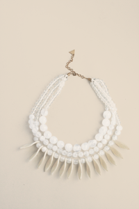 Mixed Stone Statement Necklace - White