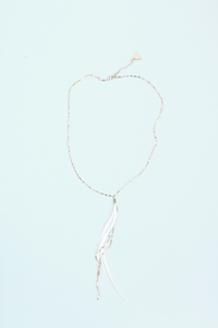 Glistening Long Feather Delicate Necklace - Gold/White