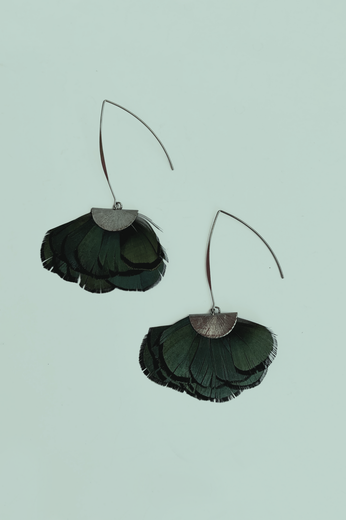 Feathered Half Disk Statement Earrings -  Green