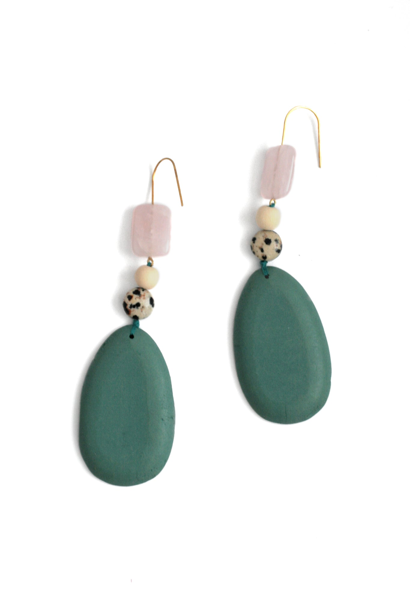 Long Drop Wood Earrings - Teal