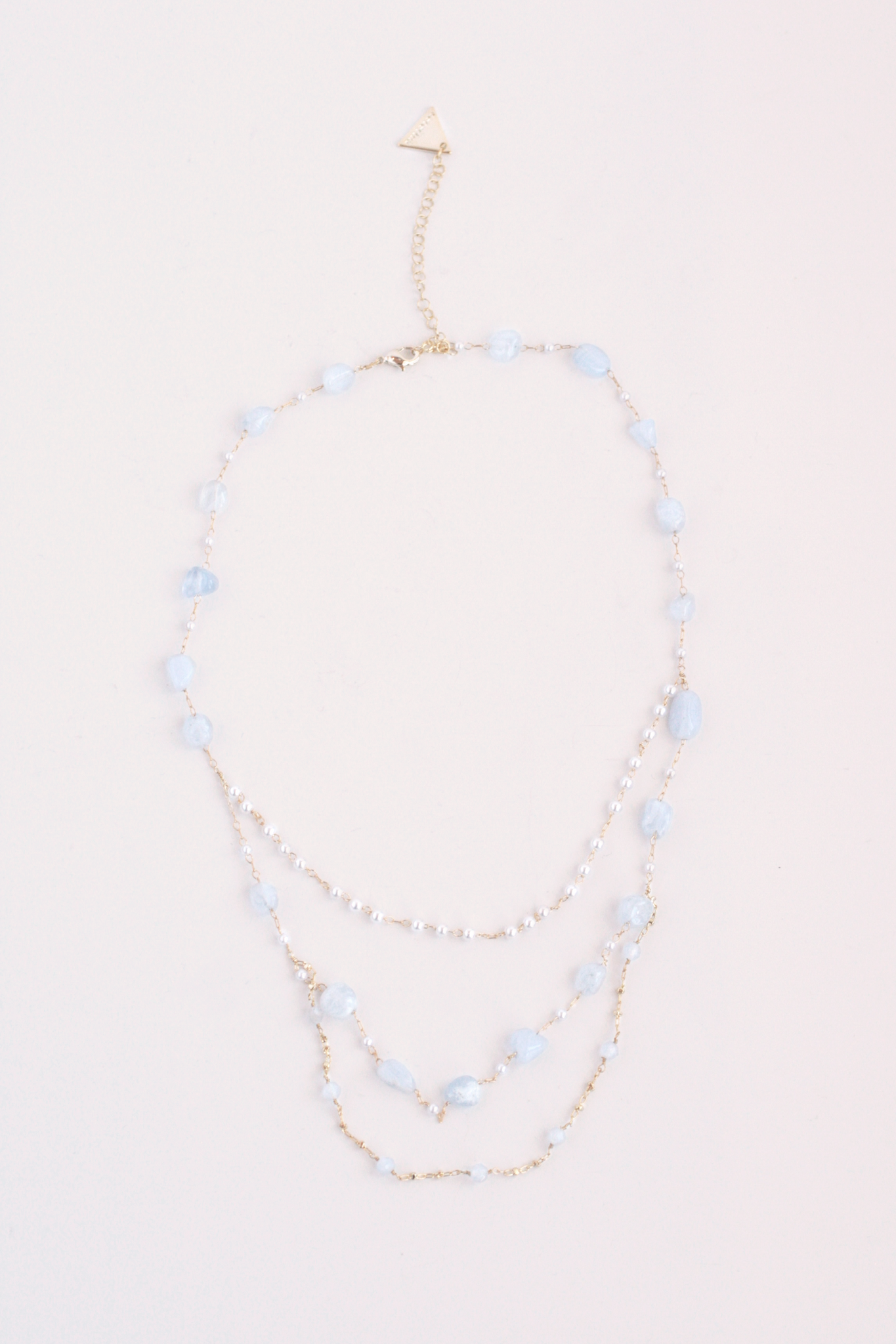 Scatter Stone Triple Layer Necklace - Moonstone