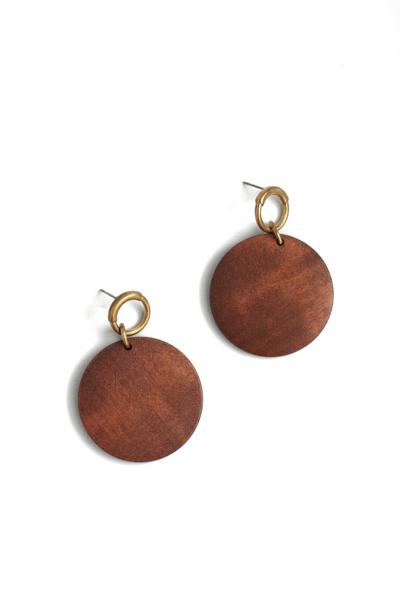 Wood Statement Earrings - Brown