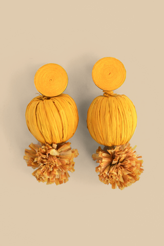 Raffia Pom Pom Earrings - Yellow