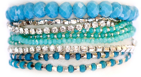 Prelayered Crystal Magnetic& Stretch Statement Bracelet: TURQUOISE