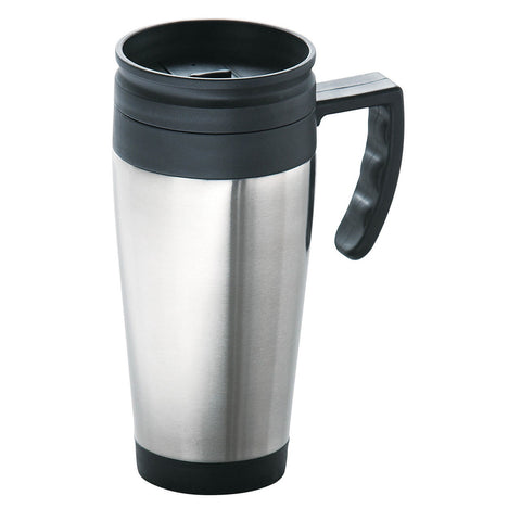 PREMIER S/S DRINKING MUG W/BLACK PLASTIC HANDLE - 1405035