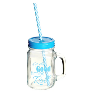 PREMIER 450ML GOOD TIMES SQR GLASS JAR MUG- 1404077