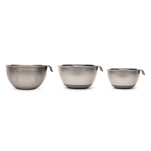 Haden 3pc Mixing bowl and Colander Set - Slate Grey - 194442