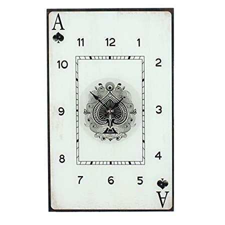Monte Carlo Sqaure Glass Wall Clock - Ace of Spades 34cm - W7871