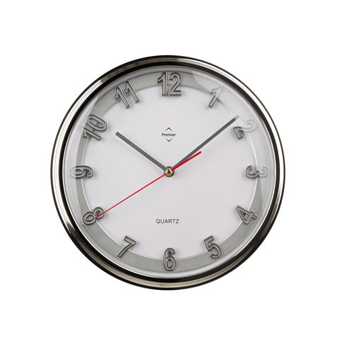 PREMIER 30.5CM DIA WALL CLOCK CHROME EFFECT/SILVER- 2200592