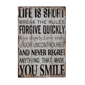 Premier Life is Short Wall Plaque-2800702