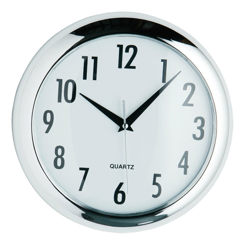 PREMIER 24CM DIA RND HALO WALL CLOCK CHROME FINI-2200419