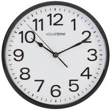 "Hometime 10"" Plastic Wall Clock with Sweep Black - W7588B"