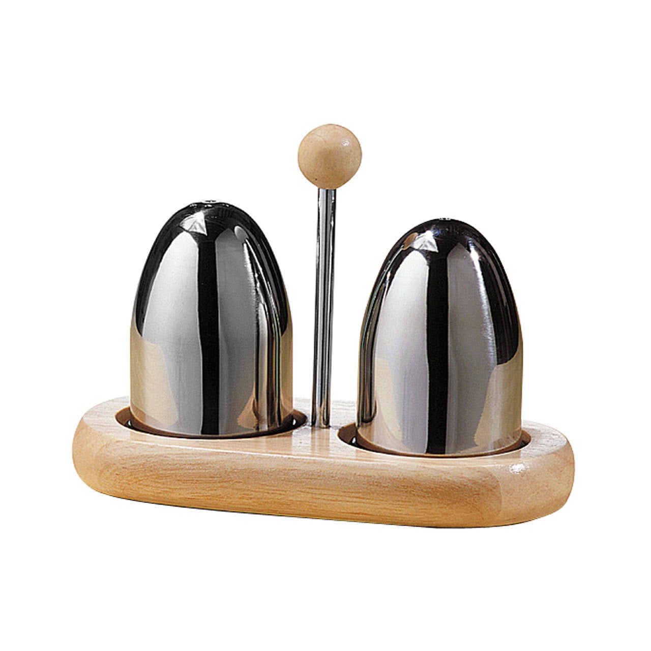 PREMIER S/S SALT & PEPPER SET ON RUBBERWOOD ST - 1103158