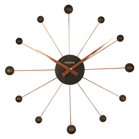 Hometime Chrome & Wooden Wall Clock Balls 50cm