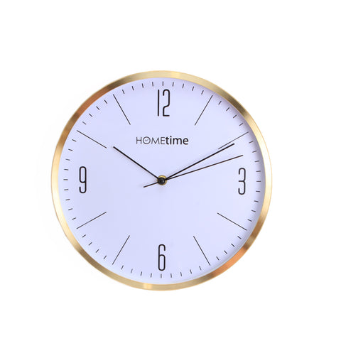 Hometime Aluminium Wall Clock Gold Finish Arabic 30cm- W7324