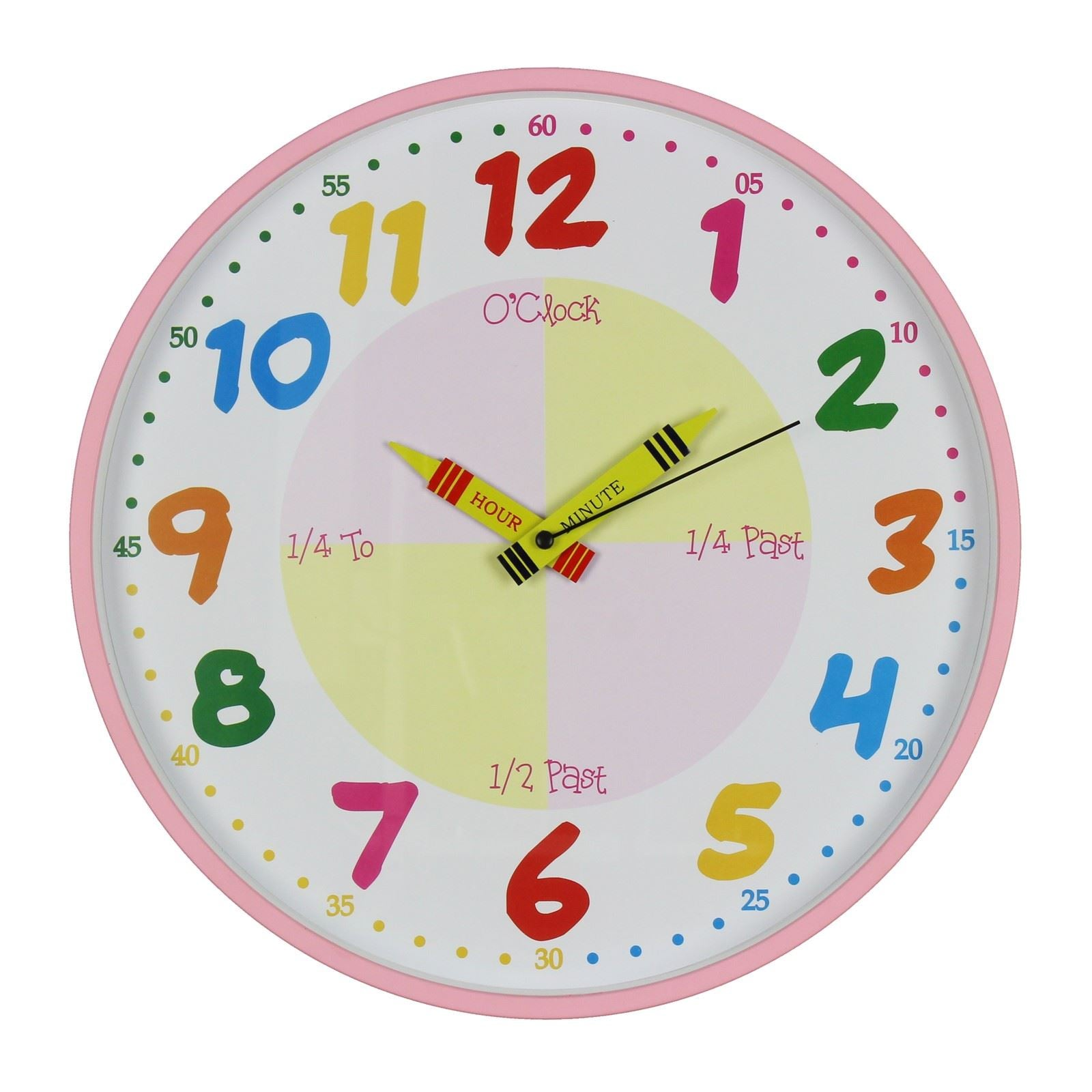 Hometime Wall Clock Teach The Time 30 cm Pink - W7503P