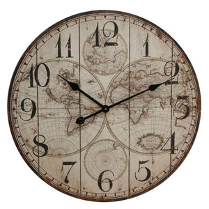 HOMETIME LARGE WORLD MAP WALL CLOCK - W7468