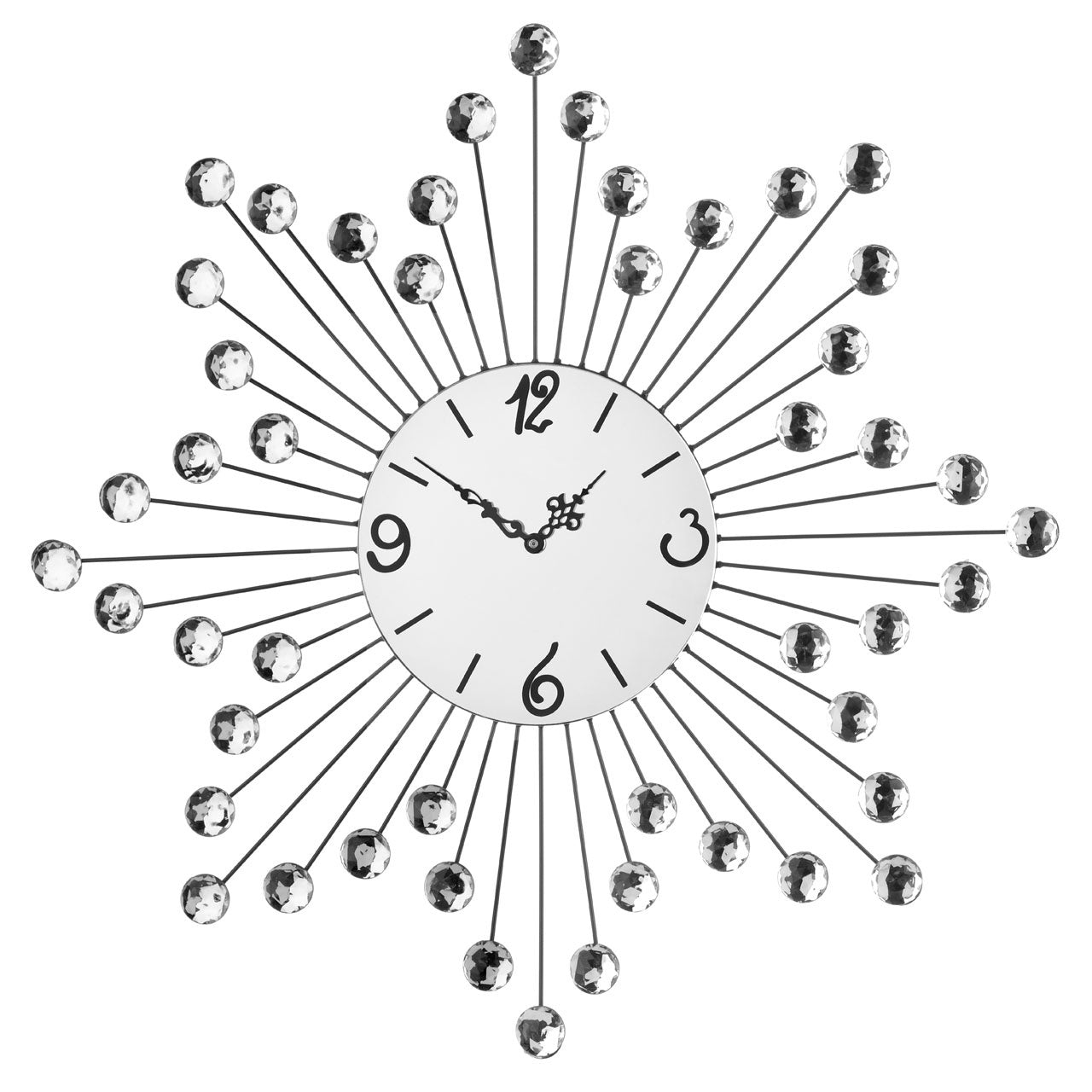 PREMIER 60CM DIA MIRRORED FACE METAL WALL CLOCK - 2200613