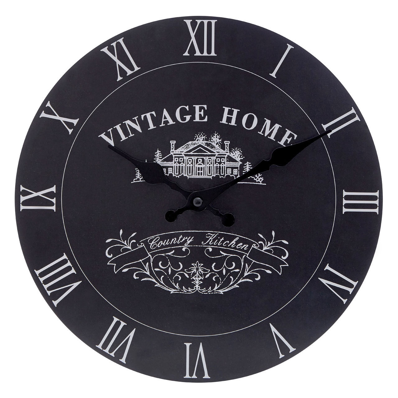 PREMIER VINTAGE HOME MDF WALL CLOCK 29CM BLACK -2200430