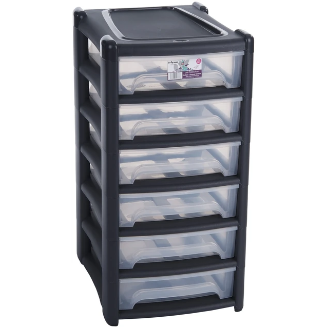 Wham Uni Shallow 6 Drawer Unit Graphite/Clear-12288