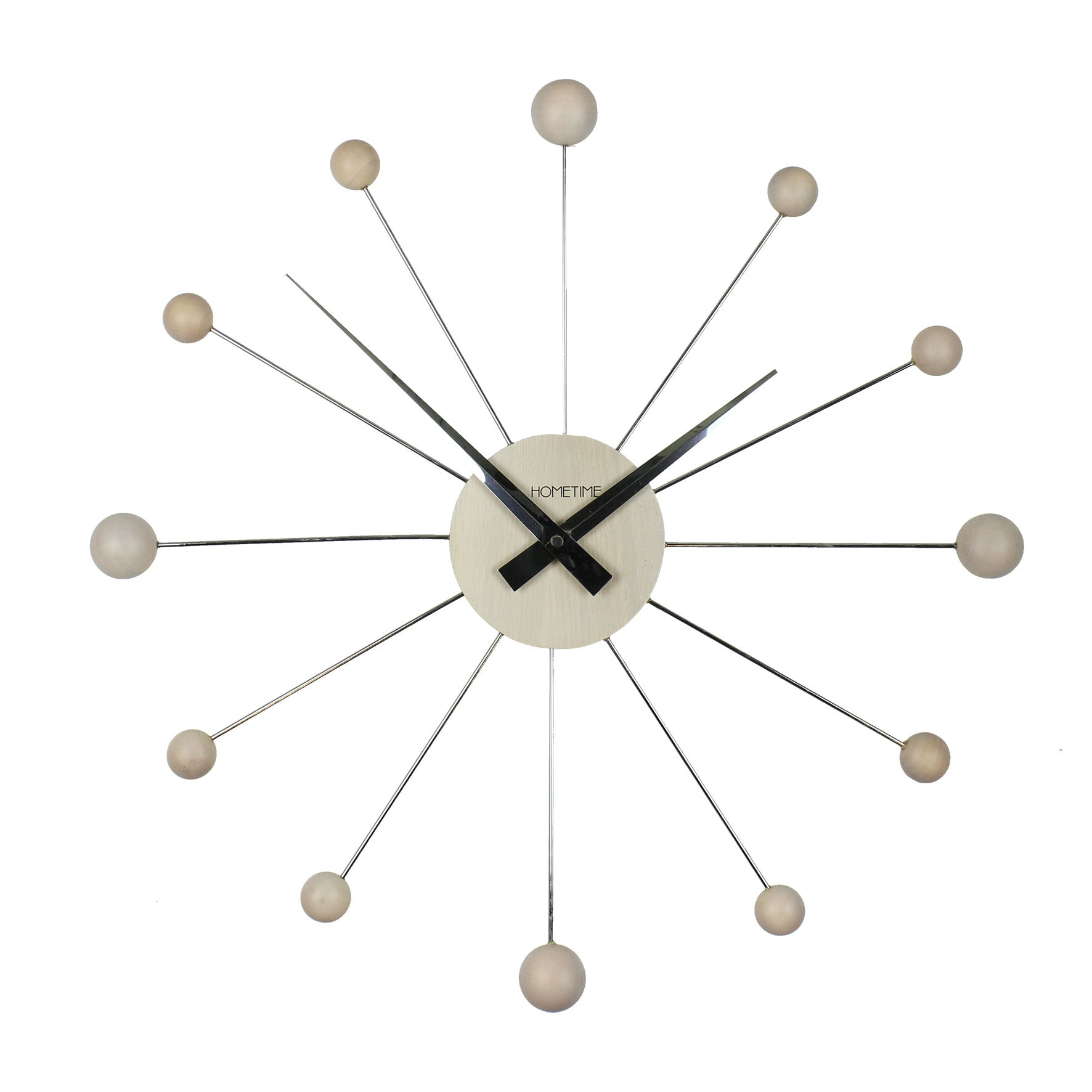 Hometime Chrome & Wooden Wall Clock Balls 50cm-W7310W - Homely Nigeria - 2