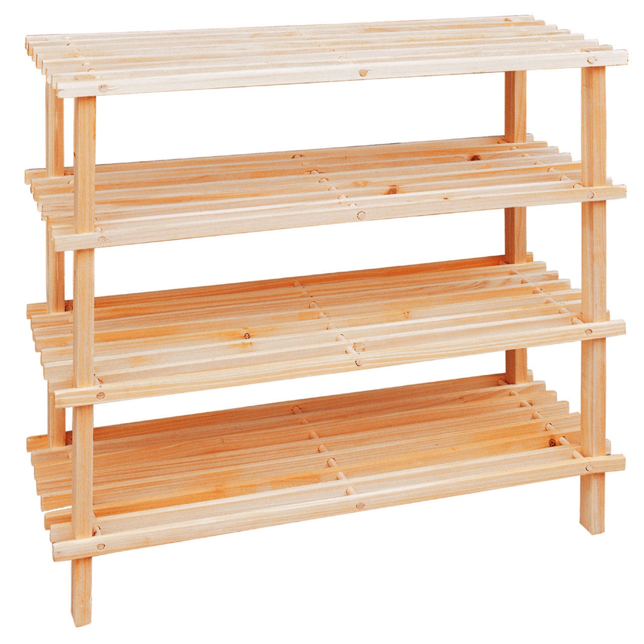 PREMIER 4 TIER SLATTED SHOE RACK NATURAL WOOD - 2400646