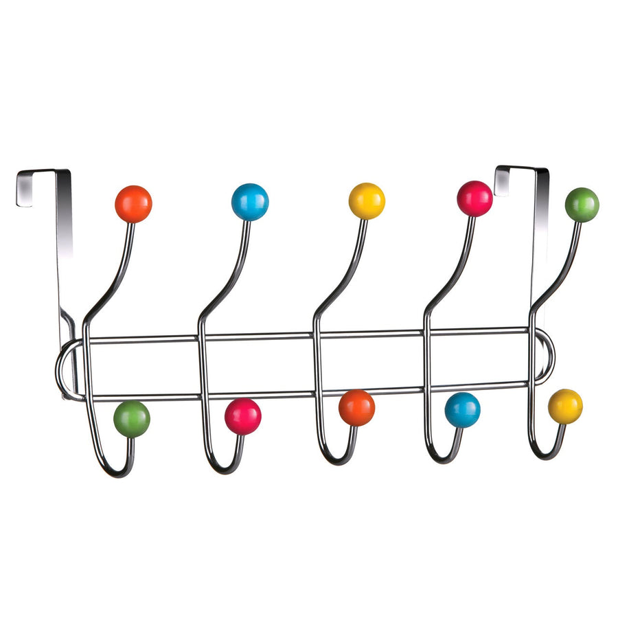 PREMIER CHROME 10 HOOK OVER DOOR HANGER MULTI COLOUR - 0509646